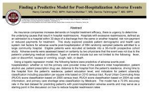 Finding a Predictive Model for PostHospitalization Adverse Events