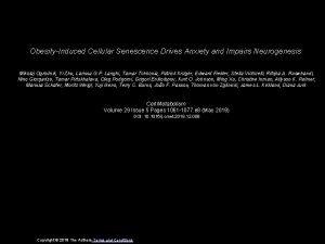 ObesityInduced Cellular Senescence Drives Anxiety and Impairs Neurogenesis