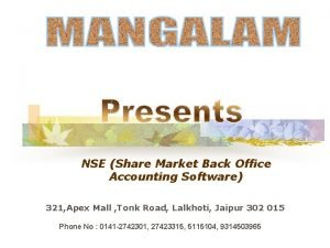NSE Share Market Back Office Accounting Software 321