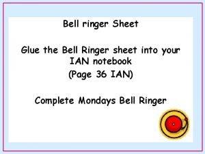 Bell ringer Sheet Glue the Bell Ringer sheet