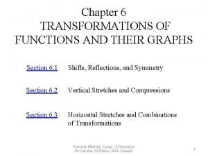 Chapter 6 TRANSFORMATIONS OF FUNCTIONS AND THEIR GRAPHS