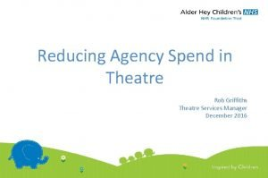 Reducing Agency Spend in Theatre Rob Griffiths Theatre