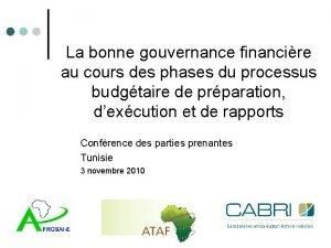 La bonne gouvernance financire au cours des phases