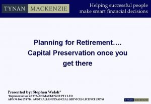 Helping successful people make smart financial decisions Planning