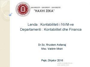 Lenda Kontabiliteti i NVMve Departamenti Kontabilitet dhe Financa