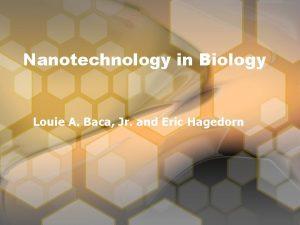 Nanotechnology in Biology Louie A Baca Jr and