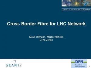 Connect Communicate Collaborate Cross Border Fibre for LHC