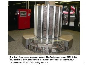 The Cray 1 a vector supercomputer The first