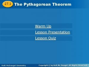 27 1 The The Pythagorean Theorem Warm Up