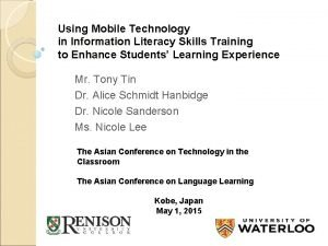 Using Mobile Technology in Information Literacy Skills Training
