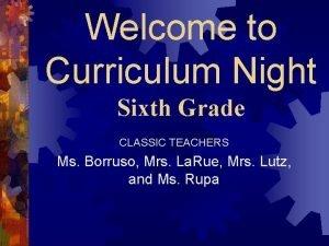 Welcome to Curriculum Night Sixth Grade CLASSIC TEACHERS