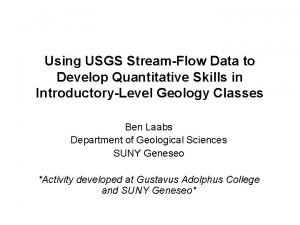 Using USGS StreamFlow Data to Develop Quantitative Skills