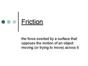 Friction the force exerted by a surface that