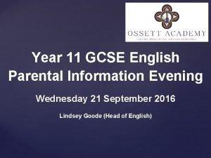 Year 11 GCSE English Parental Information Evening Wednesday
