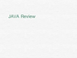 JAVA Review JDK n JDK Java Development Kit