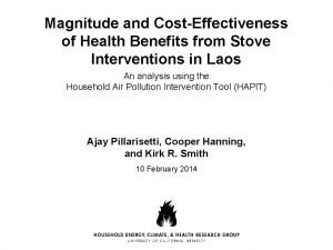 Magnitude and CostEffectiveness of Health Benefits from Stove