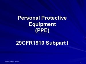 Personal Protective Equipment PPE 29 CFR 1910 Subpart