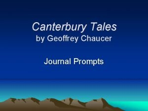 Canterbury Tales by Geoffrey Chaucer Journal Prompts Describe