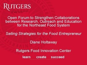 Open Forum to Strengthen Collaborations between Research Outreach