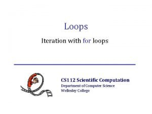 Loops Iteration with for loops CS 112 Scientific