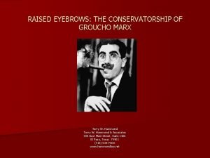 RAISED EYEBROWS THE CONSERVATORSHIP OF GROUCHO MARX Terry