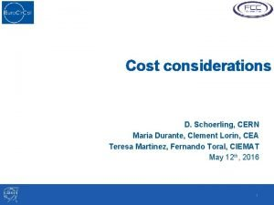Cost considerations D Schoerling CERN Maria Durante Clement