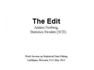 The Edit Anders Norberg Statistics Sweden SCB Work