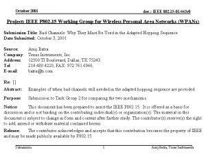 October 2001 doc IEEE 802 15 01443 r