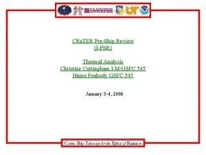 CRa TER PreShip Review IPSR Thermal Analysis Christine