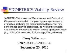 SIGMETRICS Viability Review SIGMETRICS focuses on Measurement and