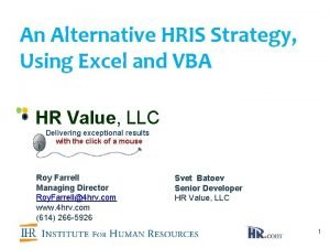 An Alternative HRIS Strategy Using Excel and VBA