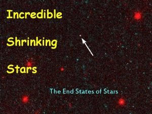 Incredible Shrinking Stars The End States of Stars