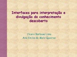 Interfaces para interpretao e divulgao do conhecimento descoberto