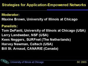 Strategies for ApplicationEmpowered Networks Moderator Maxine Brown University
