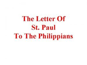 The Letter Of St Paul To The Philippians