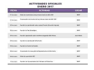 ACTIVIDADES OFICIALES ENERO 2017 FECHA 01 de enero