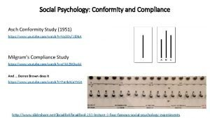 Social Psychology Conformity and Compliance Asch Conformity Study