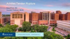 Achilles Tendon Rupture Kristoff Reid MD Assistant Professor