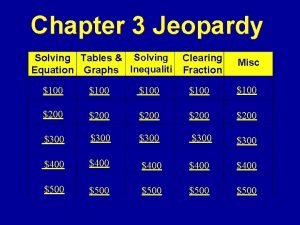 Chapter 3 Jeopardy Solving Tables Solving Equation Graphs