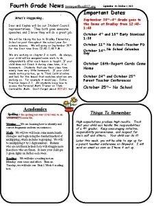 Fourth Grade News tirmingerusd 207 org Whats Happening