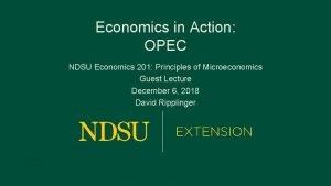 Economics in Action OPEC NDSU Economics 201 Principles
