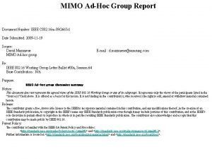MIMO AdHoc Group Report Document Number IEEE C
