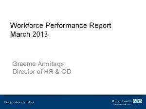 Workforce Performance Report March 2013 Graeme Armitage Director