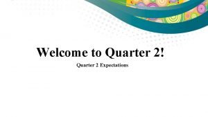 Welcome to Quarter 2 Quarter 2 Expectations School