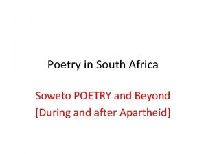 Poetry in South Africa Soweto POETRY and Beyond