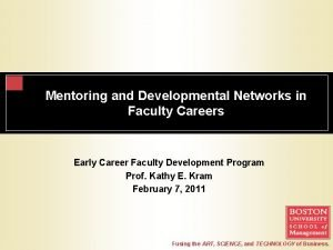 Mentoring and Developmental Networks in Faculty Careers Early