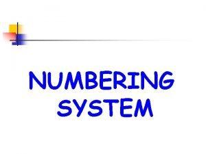 NUMBERING SYSTEM Decimal System The radix or base