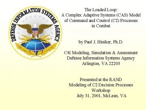 The Loaded Loop A Complex Adaptive Systems CAS