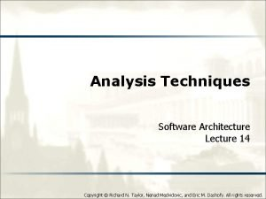 Analysis Techniques Software Architecture Lecture 14 Copyright Richard