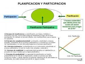 PLANIFICACION Y PARTICIPACION Planificacin Participacin Planificacin Participativa I